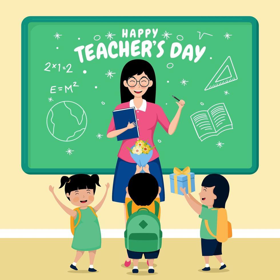 fijne lerarendag met studenten in de klas vector