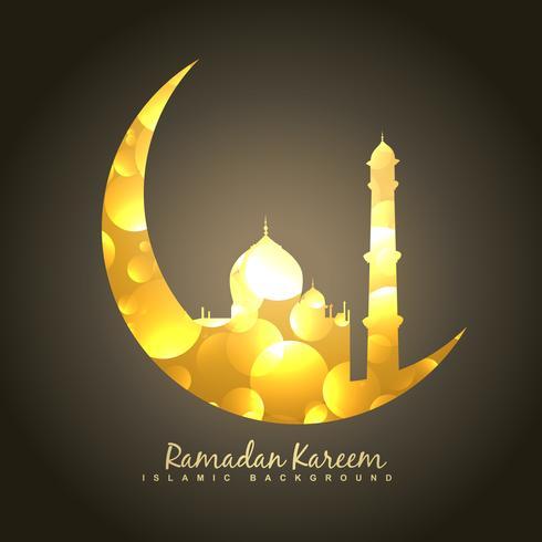 gouden maan en moskee vector