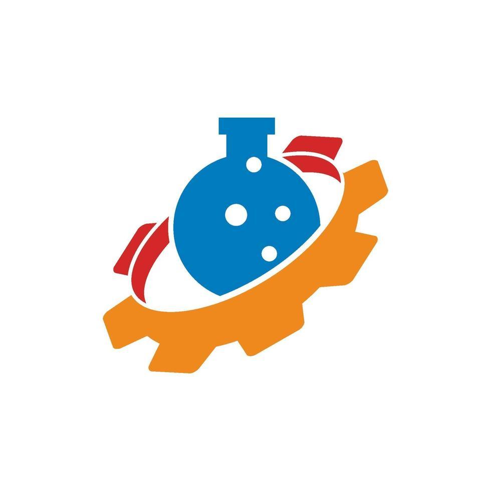 tandwiel buis laboratorium zakelijke ontwerpsjabloon pictogram vector
