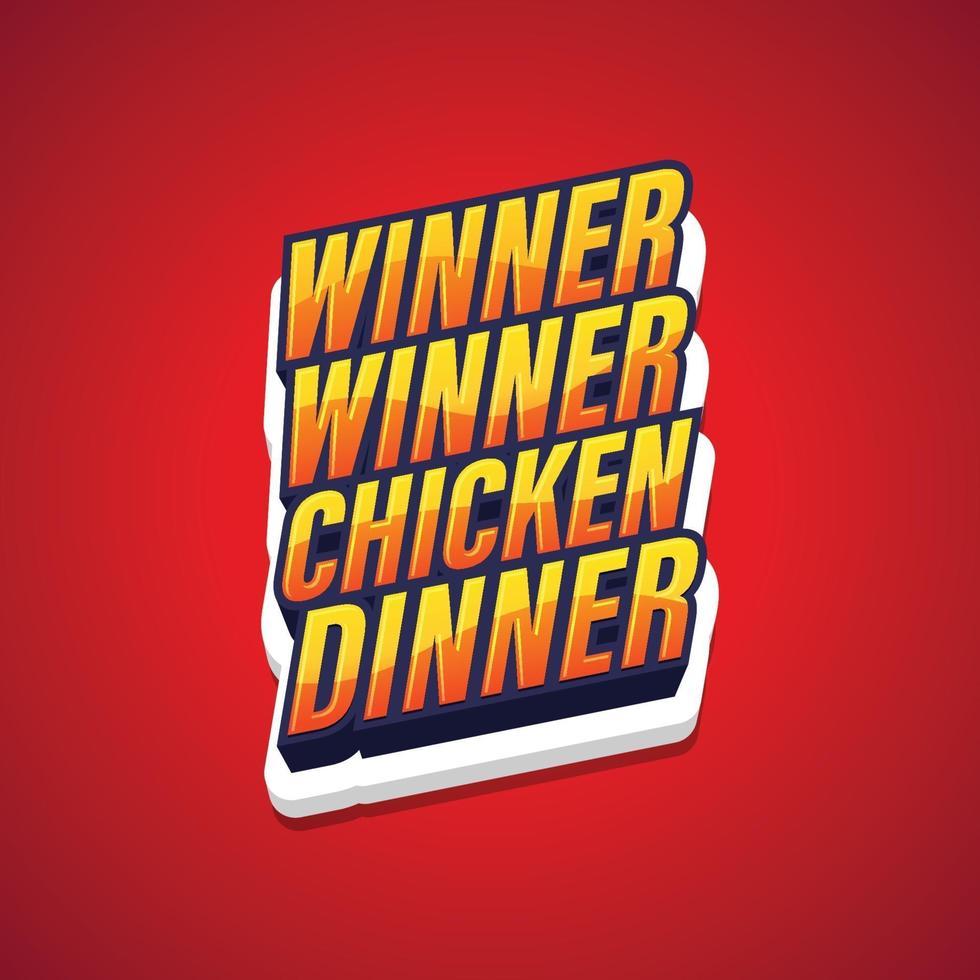 winnaar winnaar kippendiner, tekst popart gaming poster. vector illustratie