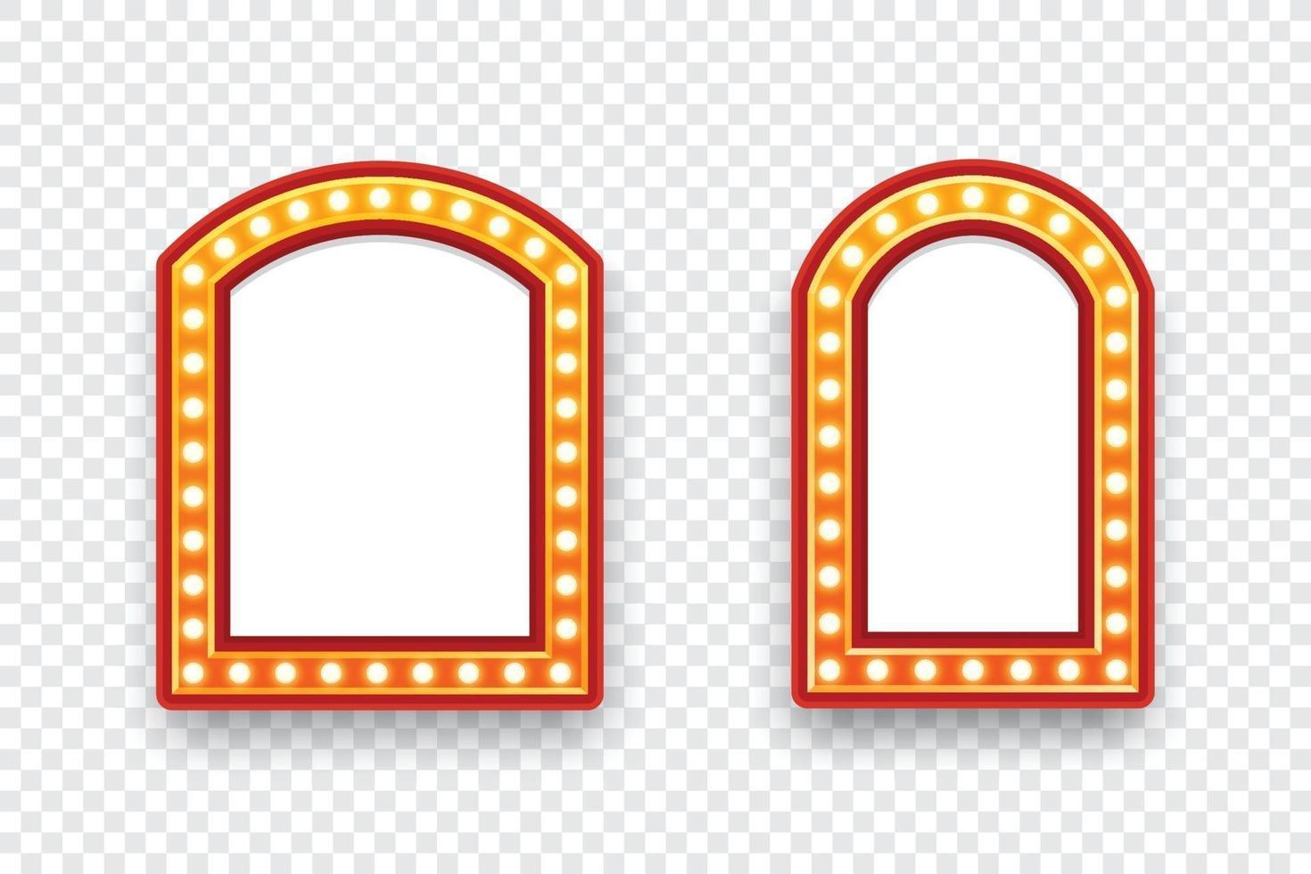 elektrische gloeilampen aanplakbord. set lege retro lichte frames voor tekst. vector illustratie