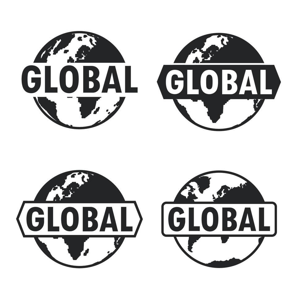 wereldbol en aarde pictogrammenset met tekst. globaal tekenontwerp. vector illustratie