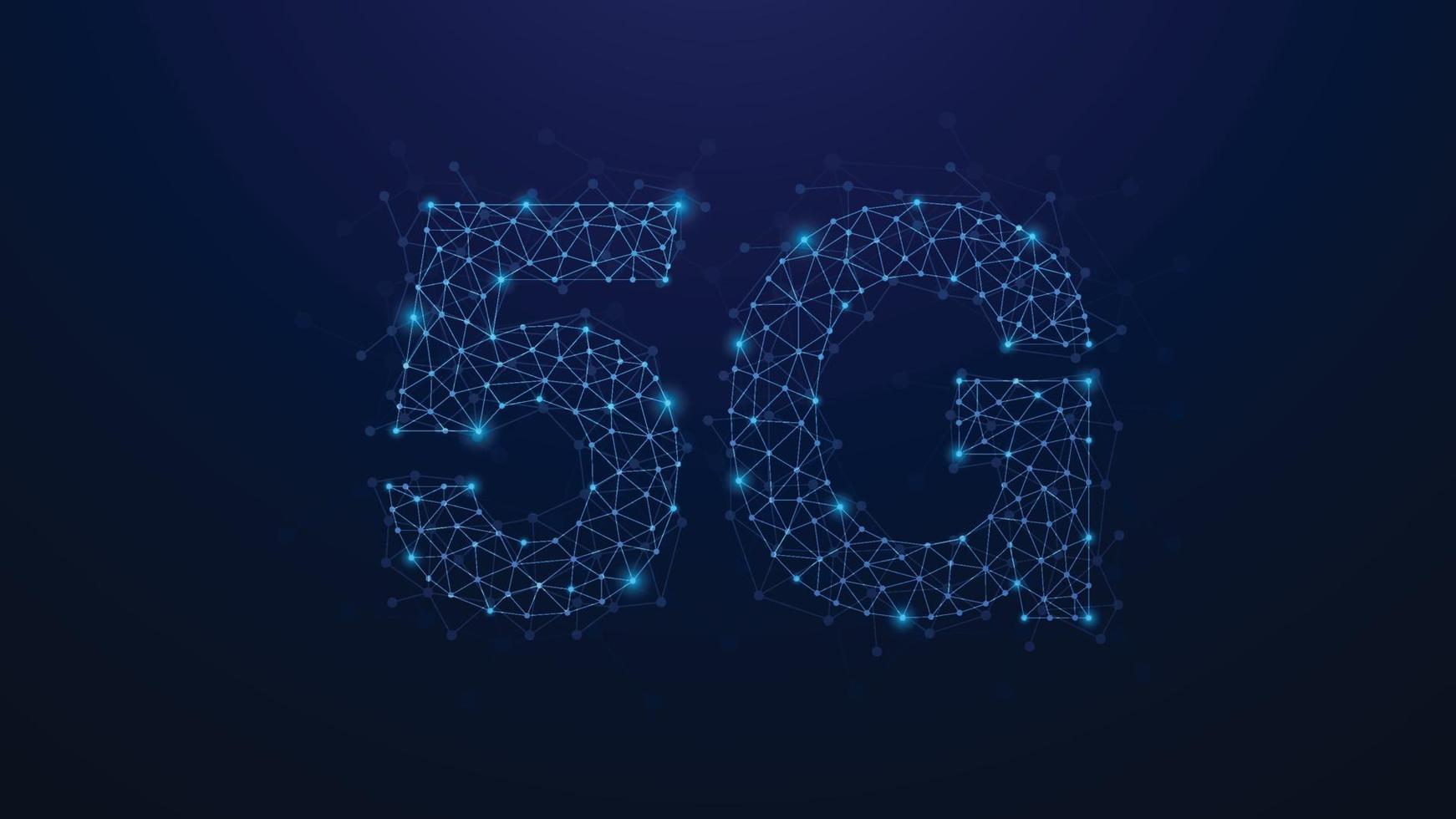 5g abstract plexus dots netwerk. concept van bedrijfstechnologie. vorm op blauwe achtergrond. vector illustratie