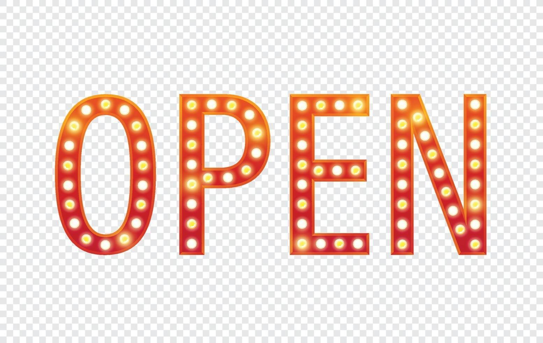 open, tekst billboard elektrische lampen. retro lichte frames. vector illustratie