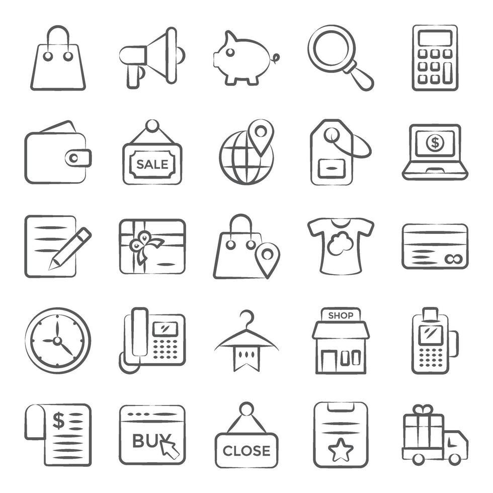 winkel- en e-commerce-elementen vector