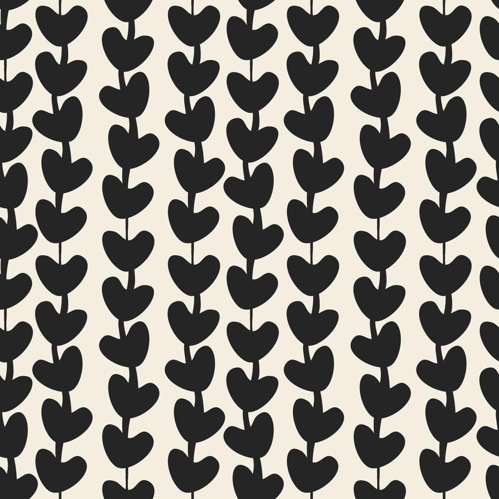 naadloze Valentijnsdag patroon achtergrond met zwart-wit hart hart lijn vector