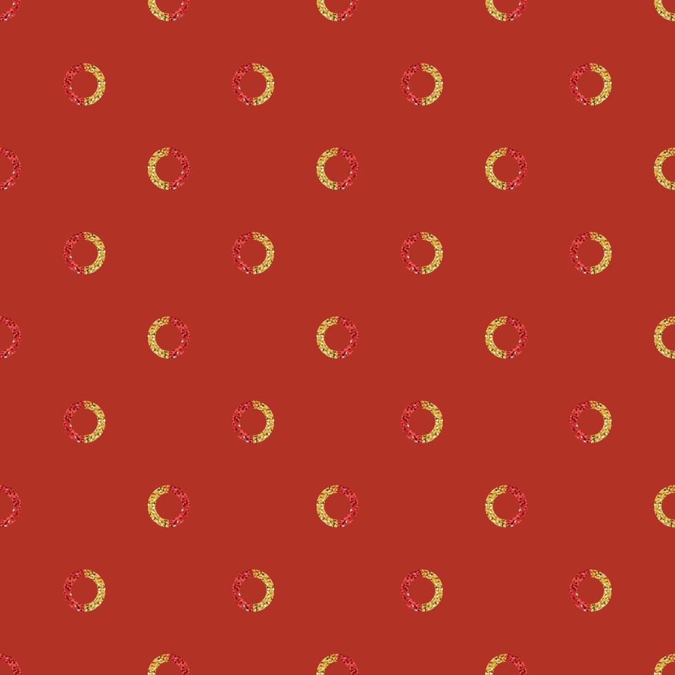naadloze Chinees Nieuwjaar patroon achtergrond met rode en gouden glitter cirkel vector