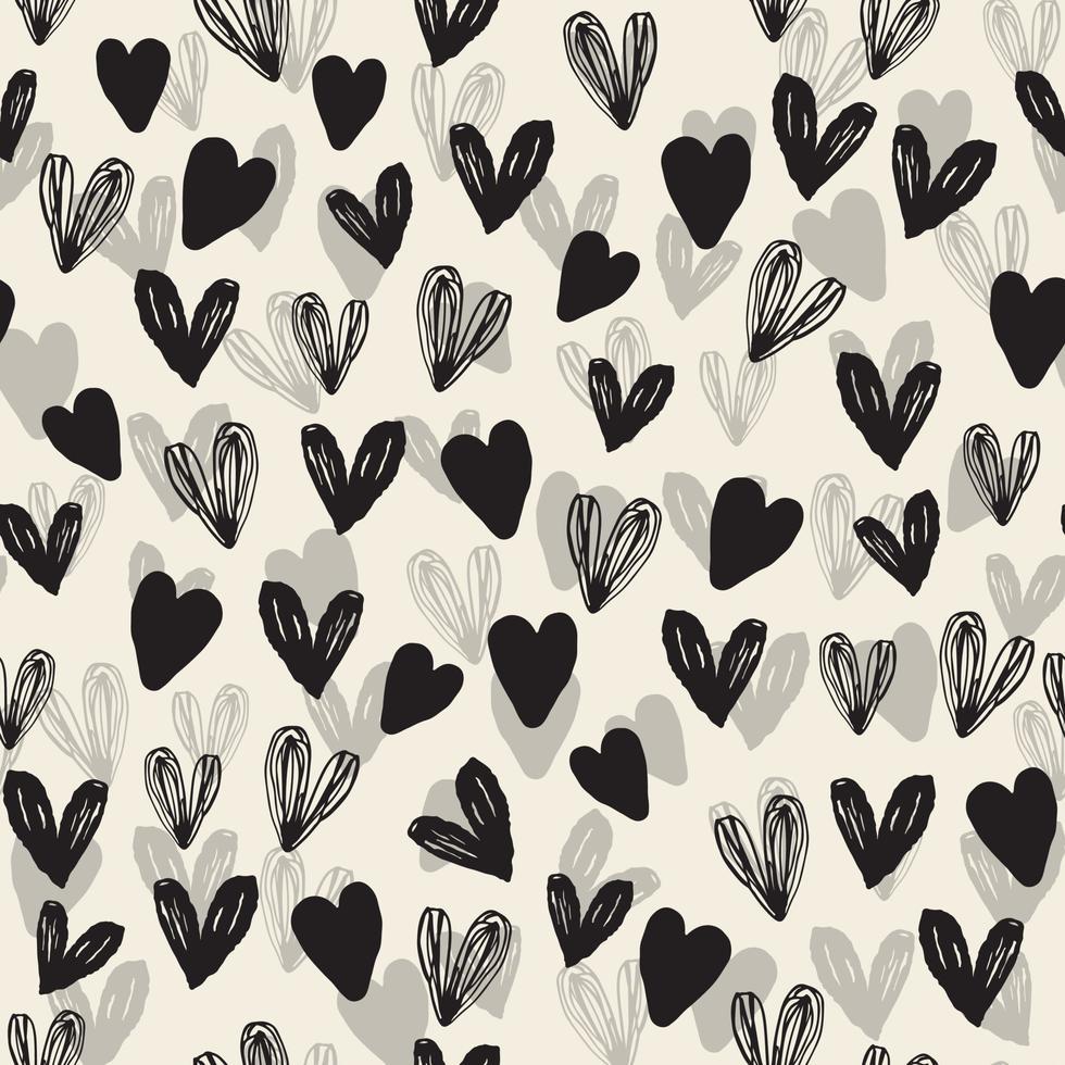 naadloze decoratie patroon achtergrond met zwart-wit hand tekenen hart vector