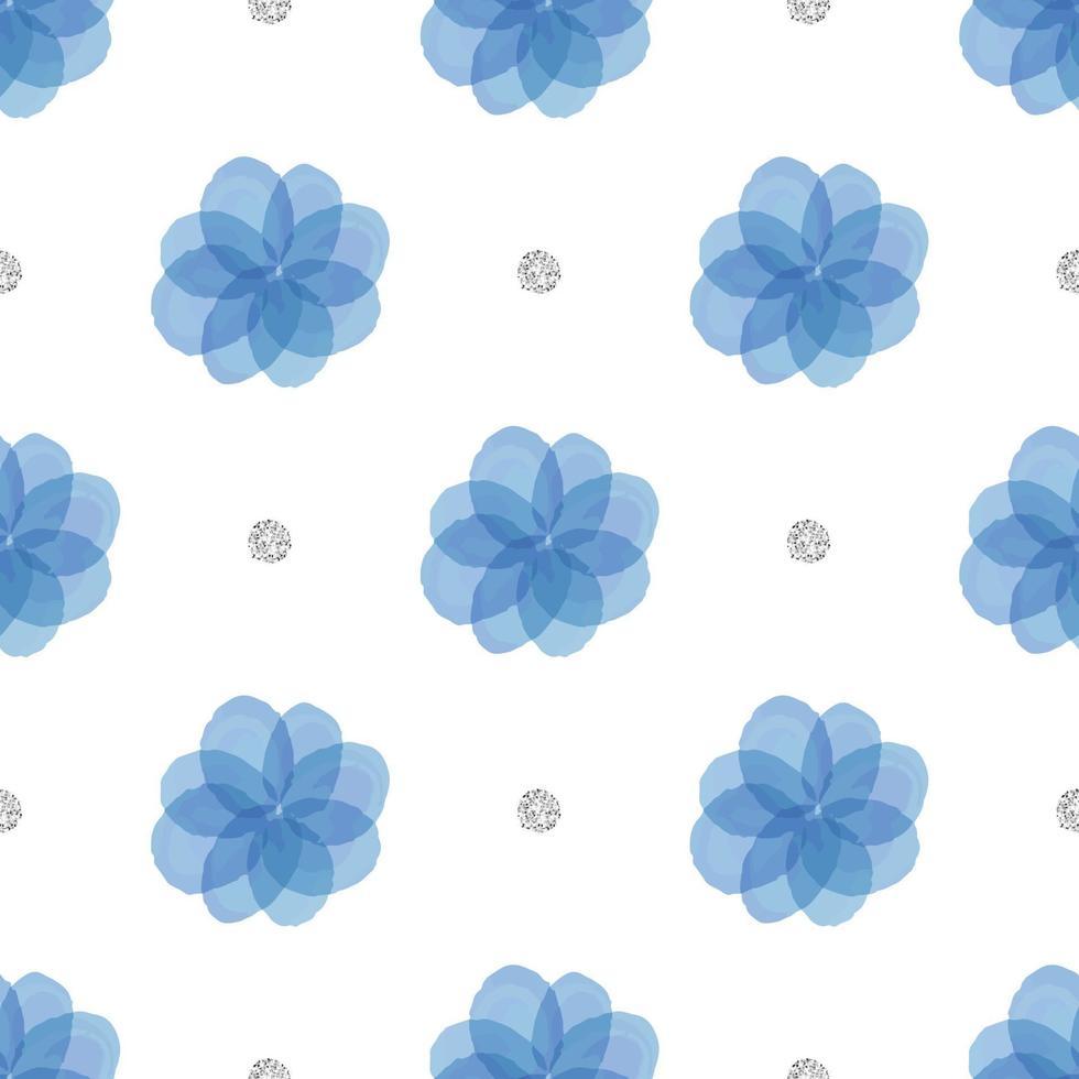 naadloze blauwe bloemen met zilveren stip glitter patroon achtergrond vector