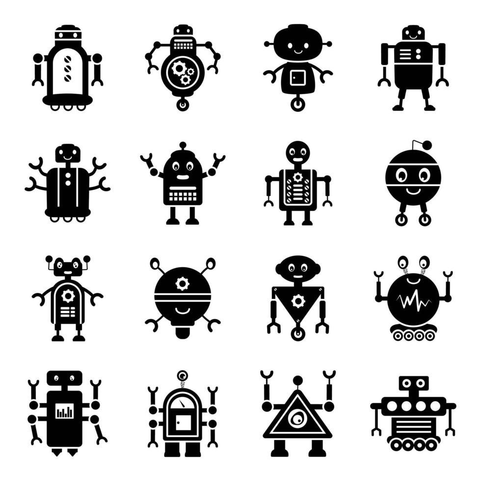 robots en bionische mensen vector