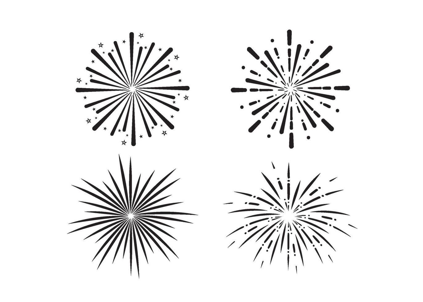 vuurwerk pictogram illustratie vector set