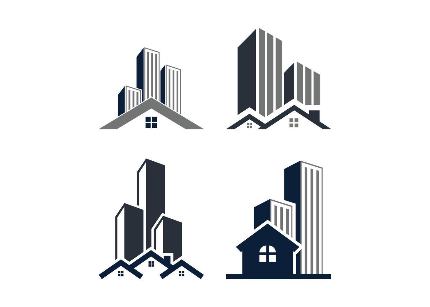 wolkenkrabber gebouw pictogram illustratie vector set