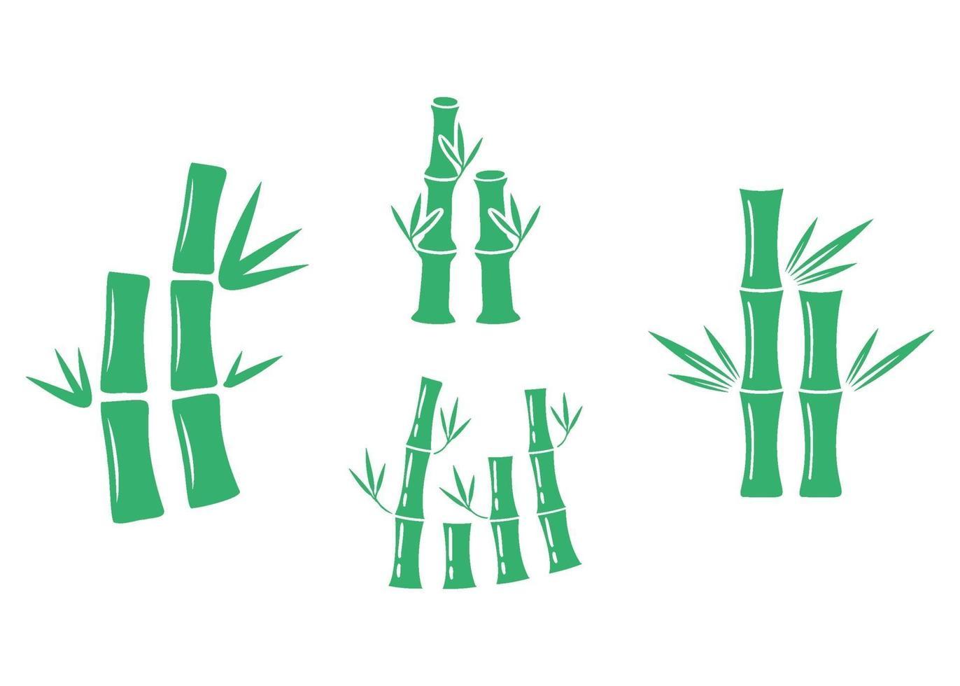 bamboe pictogram illustratie vector set