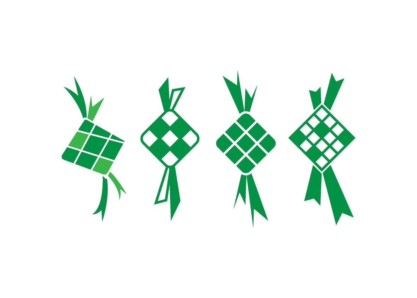 ketupat pictogram illustratie vector set