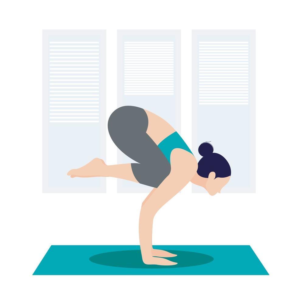actieve vrouw thuis yoga beoefenen vector
