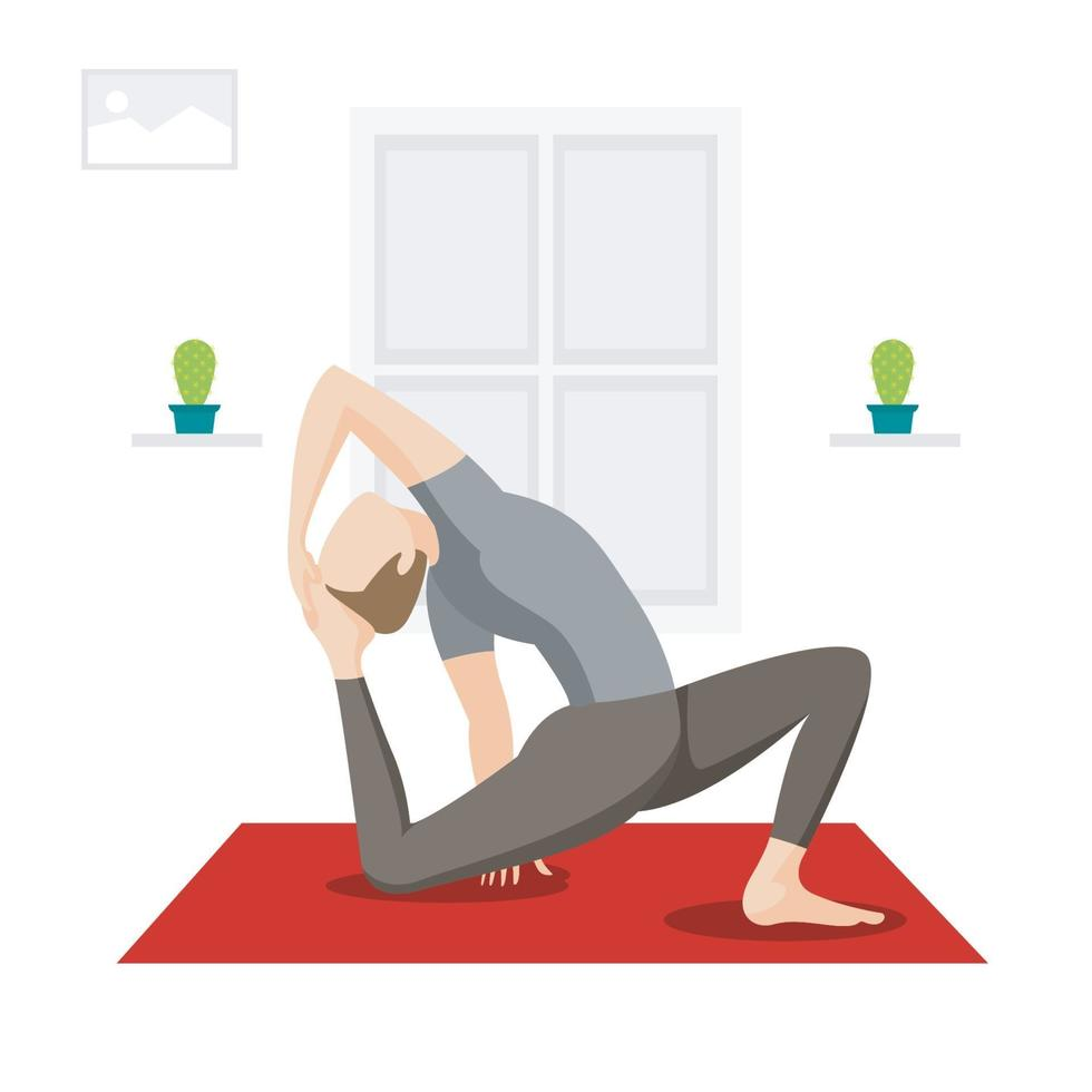 mannen die yoga beoefenen, achterover leunen, indoor training vector