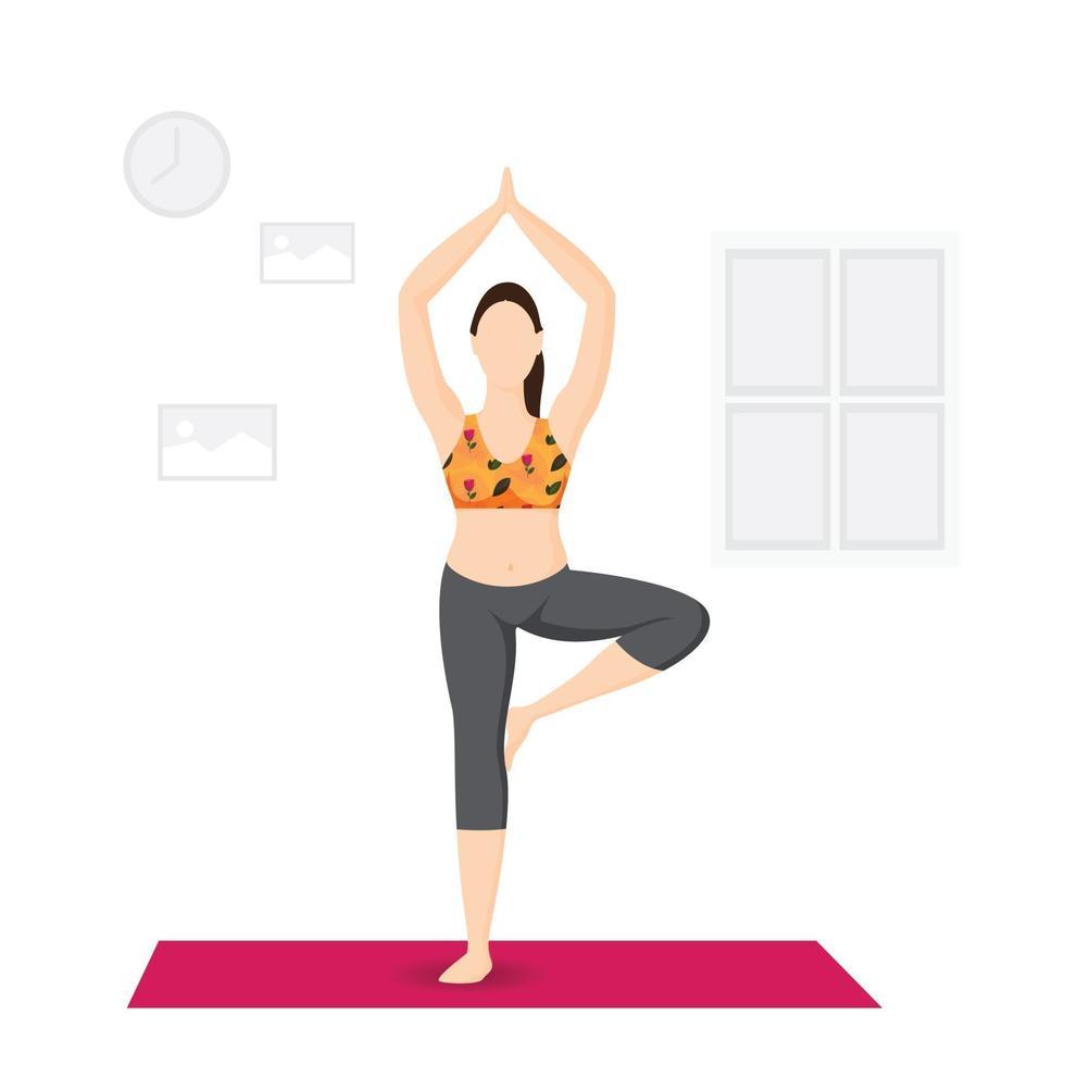 internationale yogadag, meisje op één been, jonge dame die thuis yoga beoefent vector