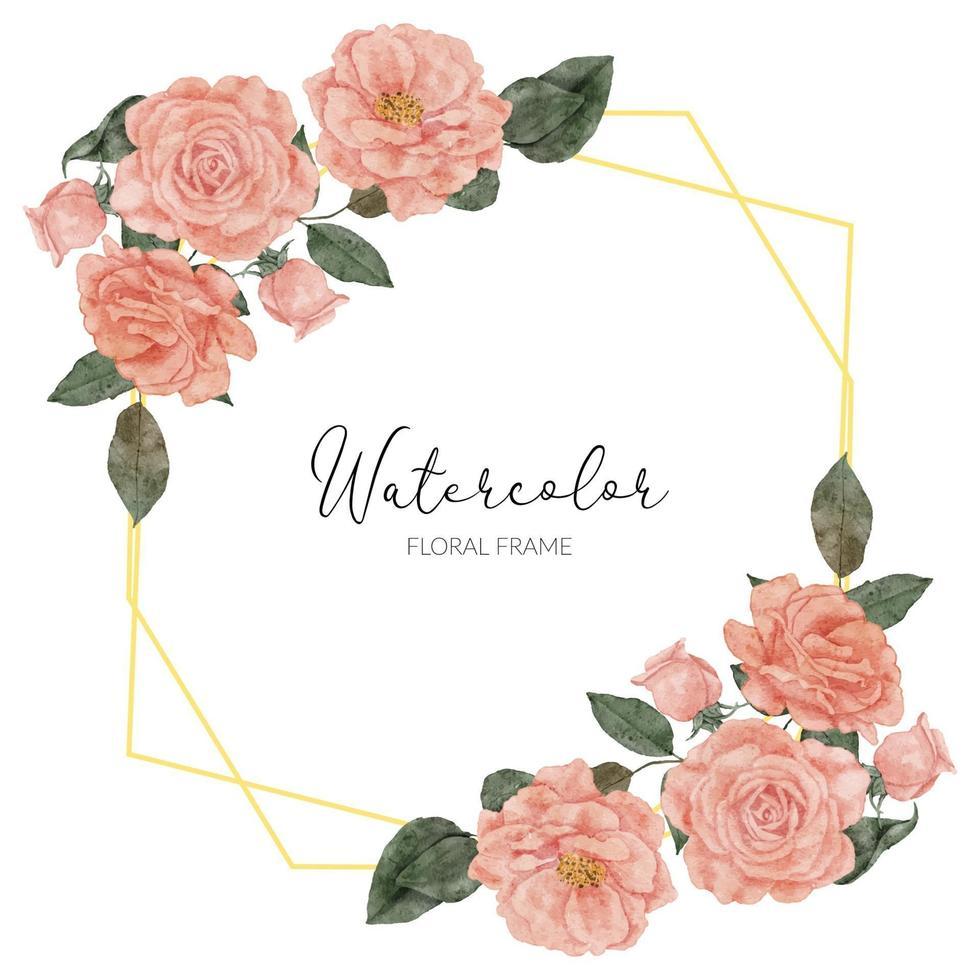 aquarel bloei perzik roos flroal rustieke grens vector