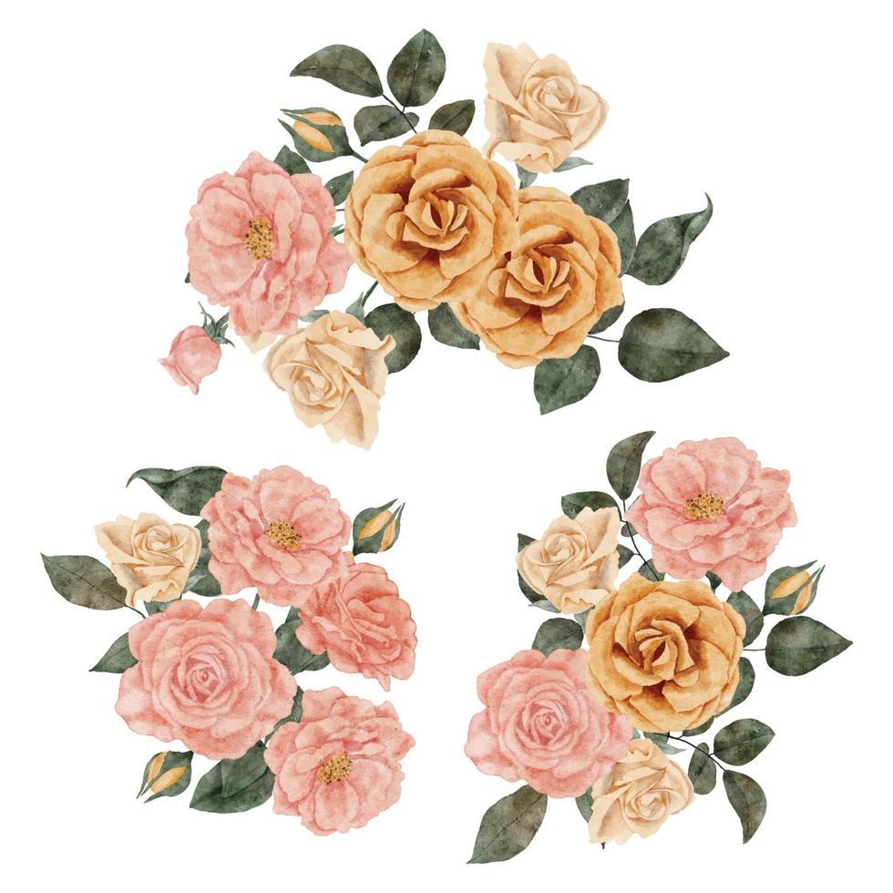 aquarel roos bloemstuk met blad illustratie vector