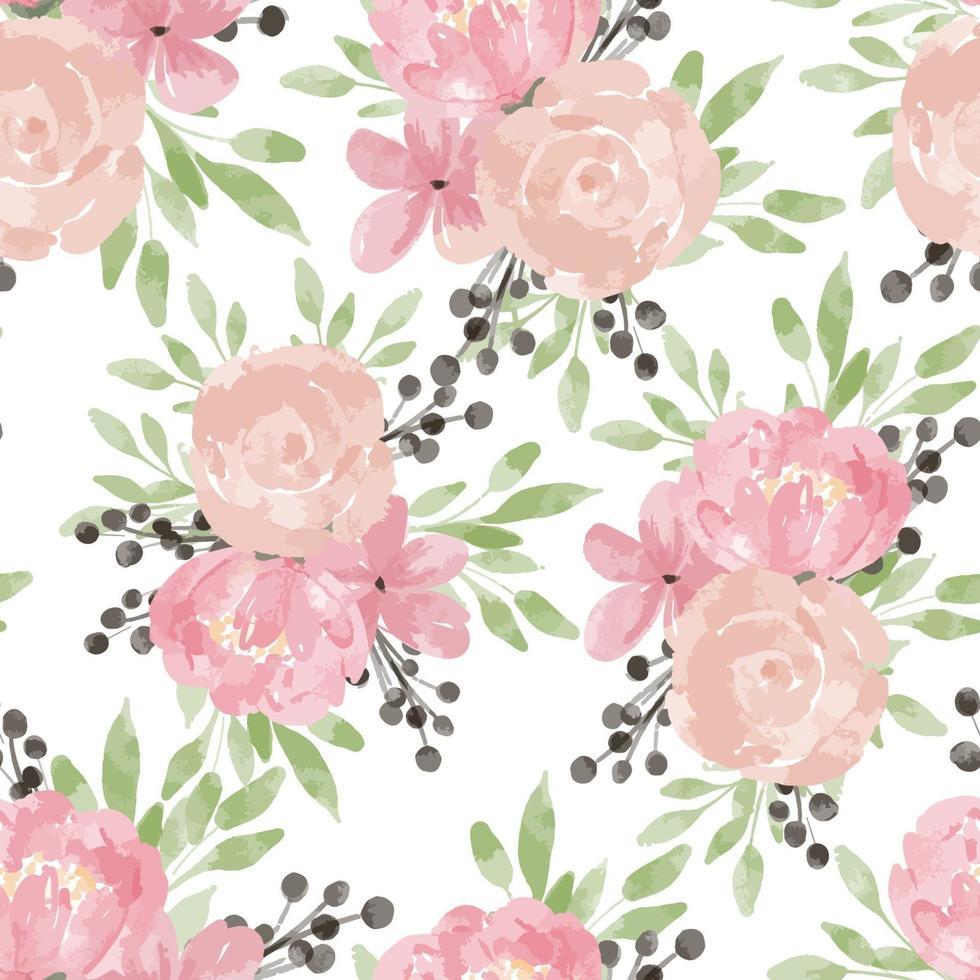 aquarel roos peony naadloze bloemmotief vector