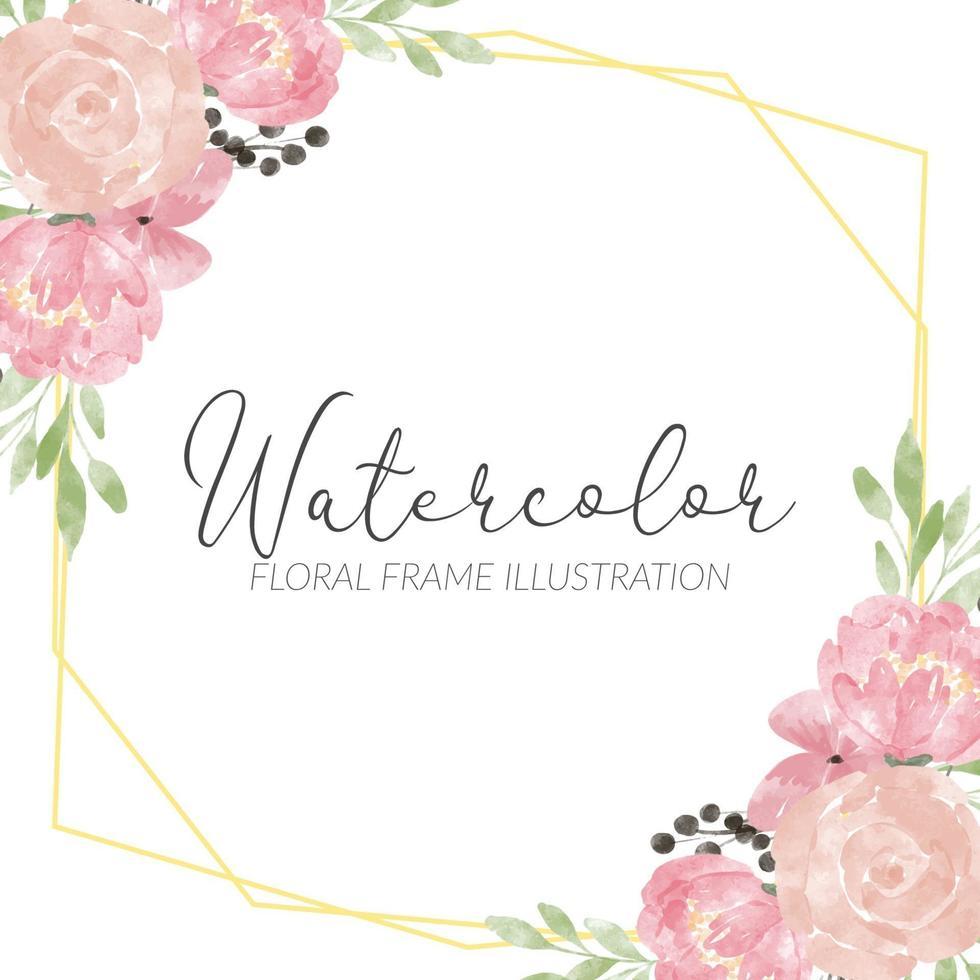 rustiek roze pioen aquarel bloemstuk frame vector