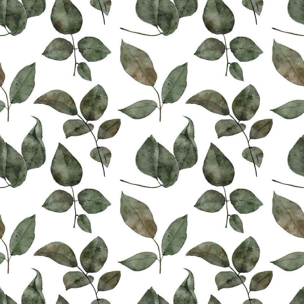 naadloze patroon aquarel groen gebladerte blad vector