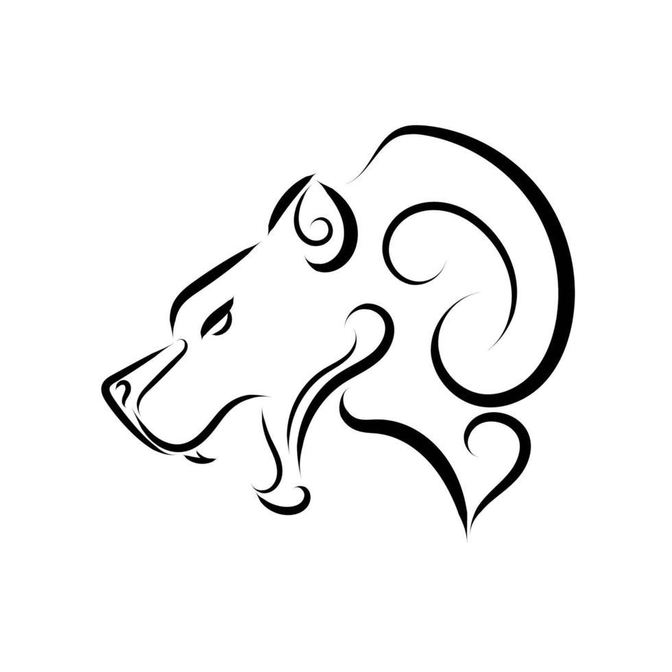 zwart-witte lijntekeningen van berenkop. vector