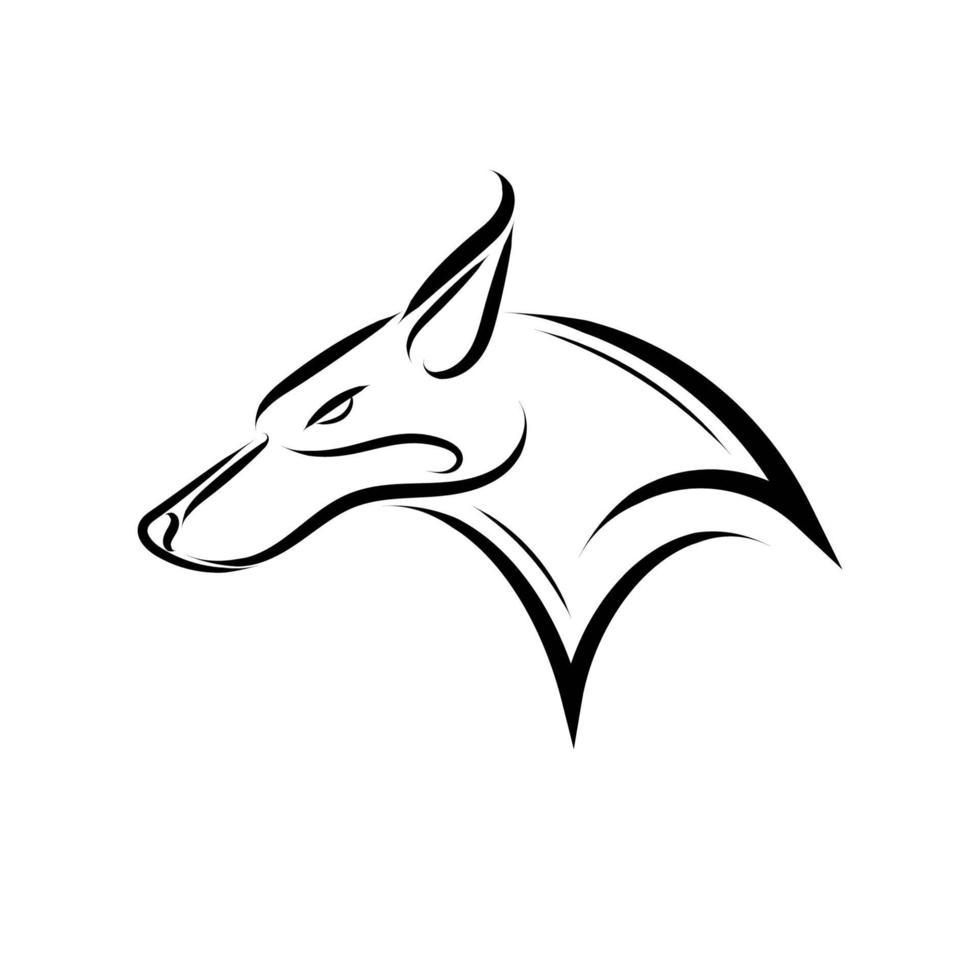 zwart-witte lijntekeningen van vossenhoofd. vector