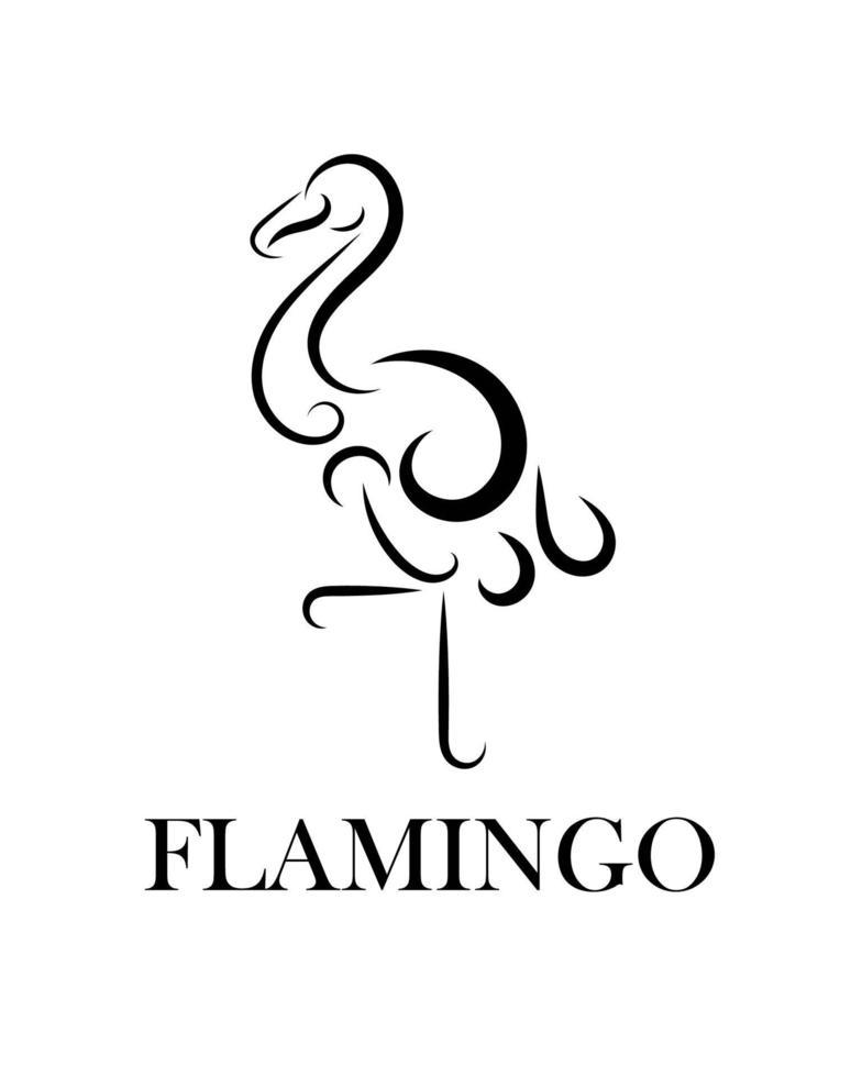 lijntekeningen vectorillustratie van flamingo. vector