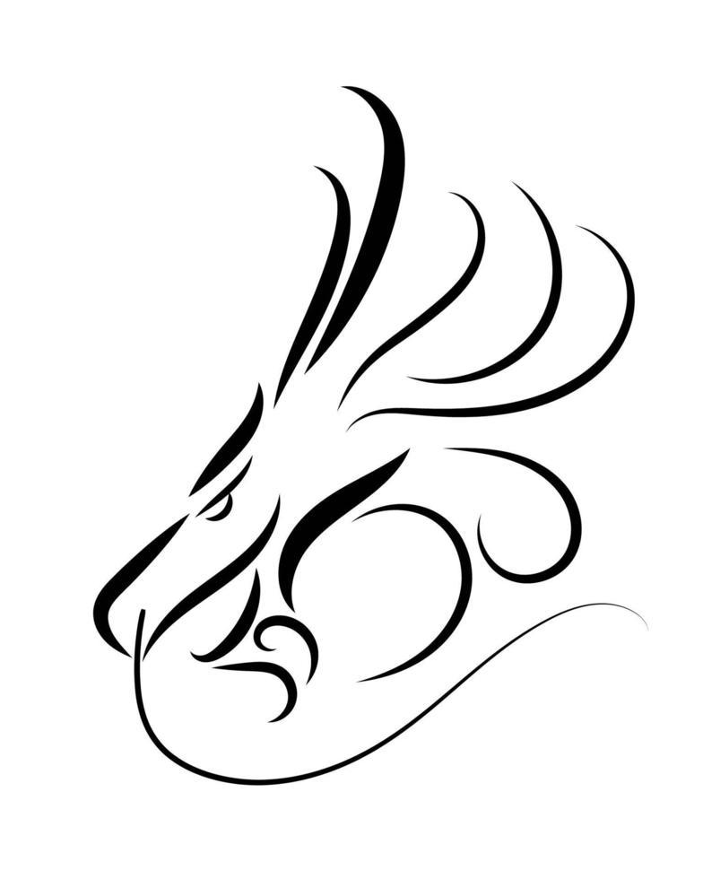 lijntekeningen vector van een drakenkop.