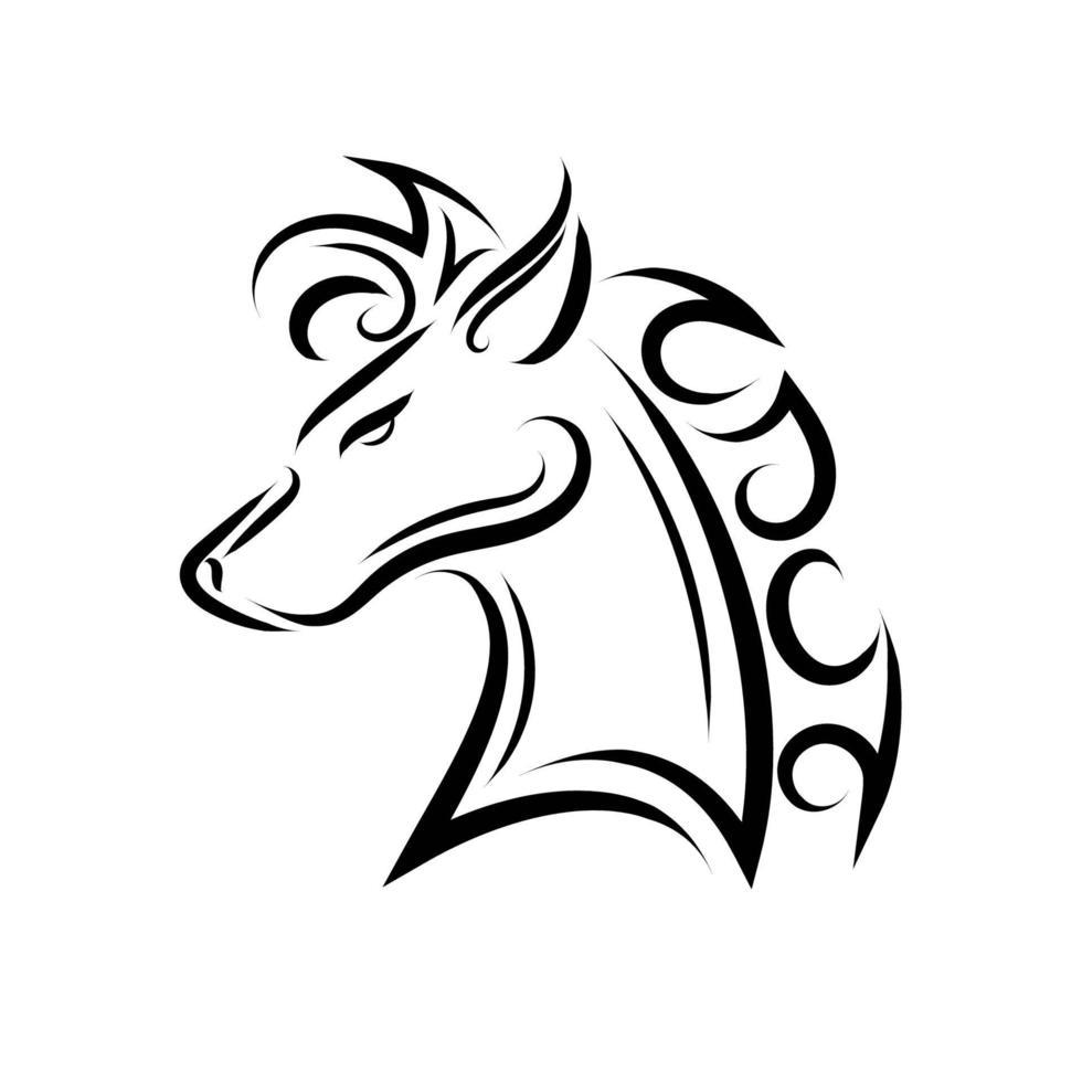 zwart-wit lijntekeningen van paardenhoofd. vector