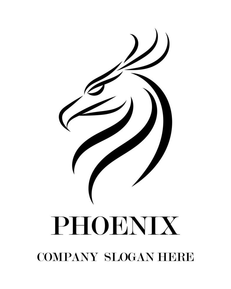 zwart vector logo van phoenix. het toont kracht en kracht.