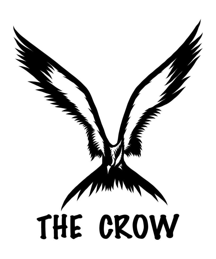 een zwart-wit silhouet vector illustratie van een kraai tijdens de vlucht, perfect als een logo of t-shirt of tatoeage ontwerp.