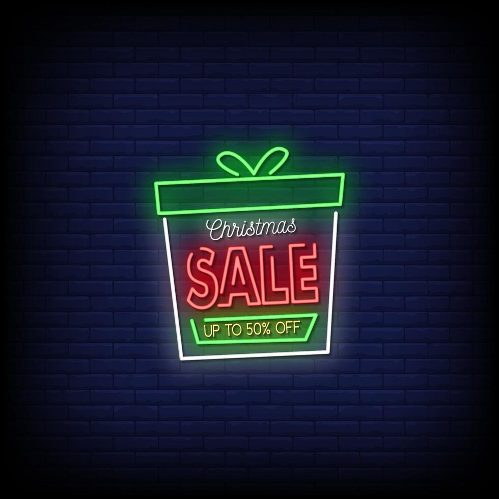 kerst verkoop neonreclames stijl tekst vector
