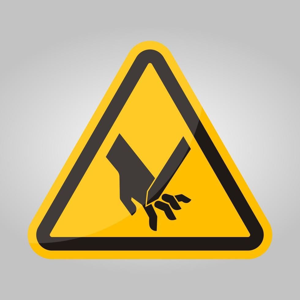 snijden van vingers schuin mes symbool teken, vector illustratie, isoleren op witte achtergrond label .eps10