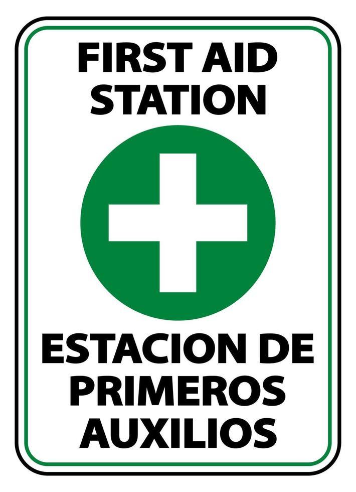 tweetalig eerste hulppostteken op witte achtergrond vector
