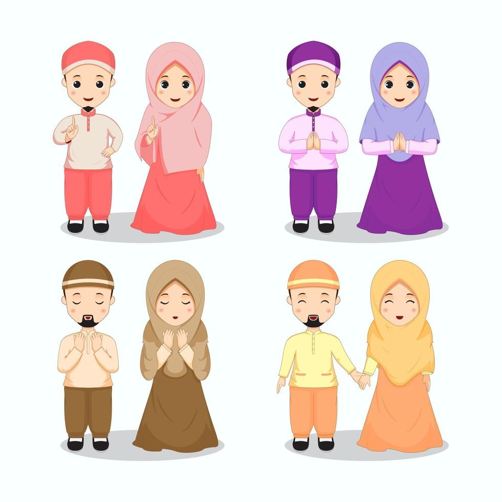 set moslimpaarkarakters in kleurrijke outfits vector