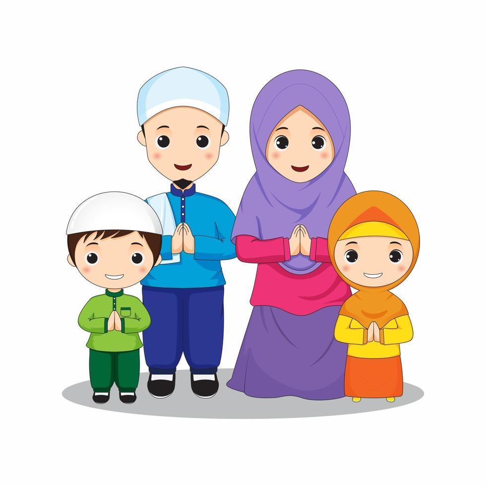 gelukkige moslimfamilie in kleurrijke outfits vector