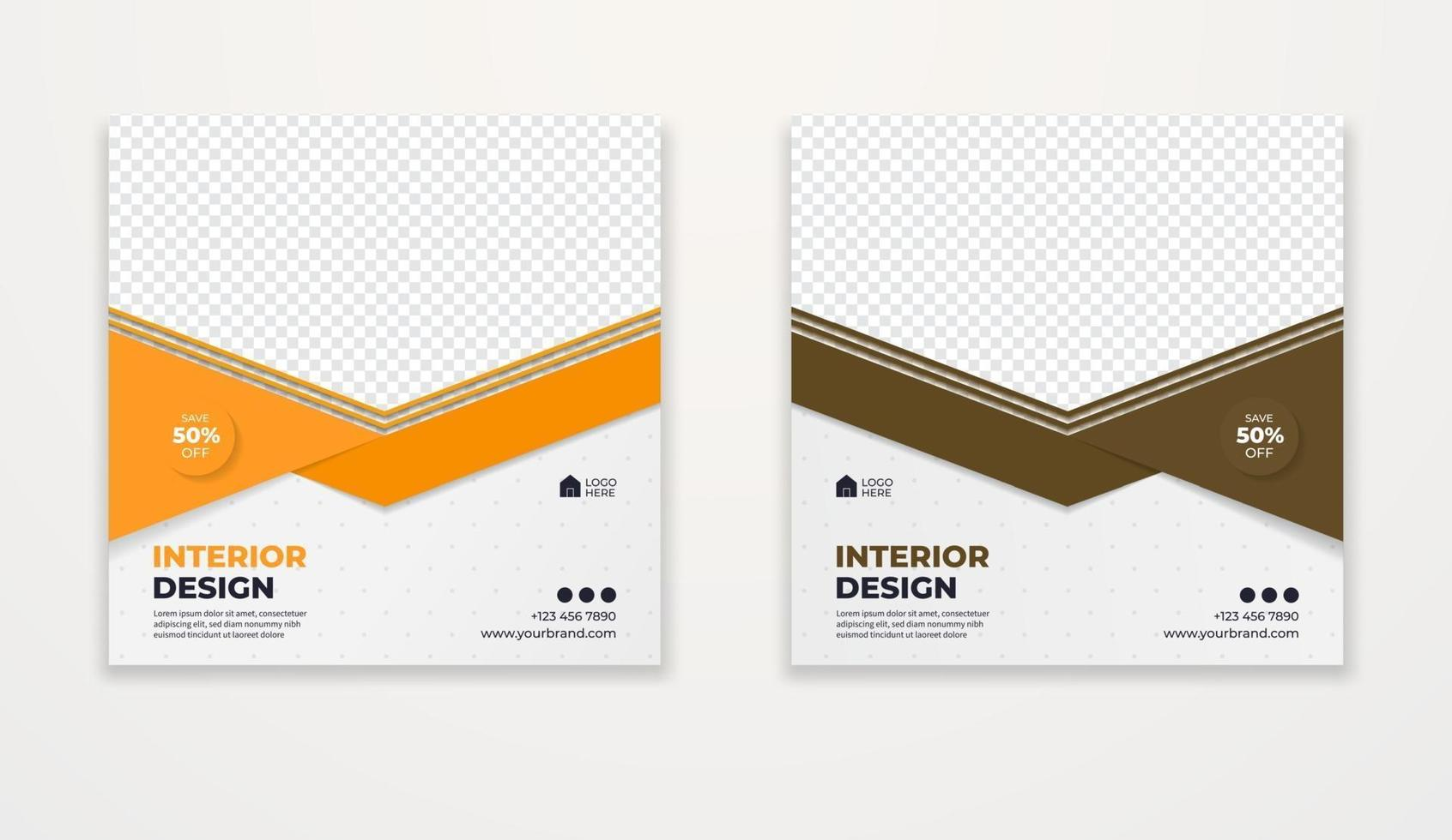 verkoop- en kortingsbannersjablonen voor interieurontwerp. vector