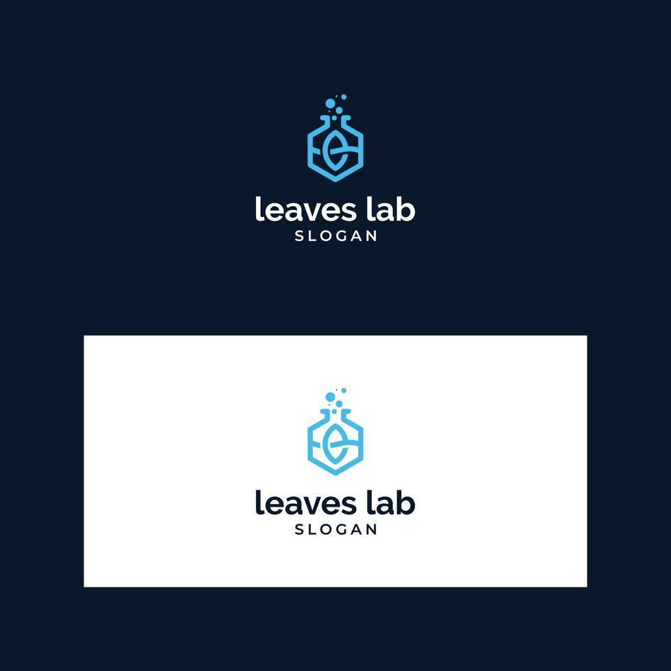 logo bladeren en lab-ontwerp vector