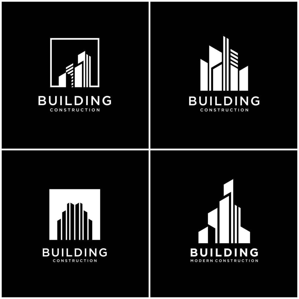 verzameling bouwen logo-ontwerp bundelconstructie. premium visitekaartjes, inspirerende stad bouwen abstracte logo's modern. vector