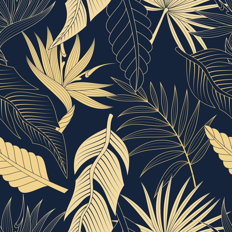 naadloze patroon met tropische bladeren. elegante exotische achtergrond. vector