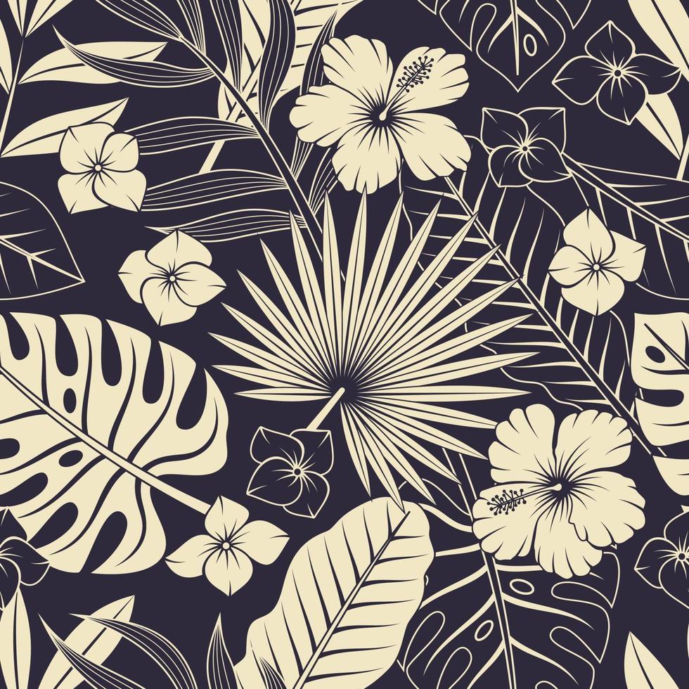 naadloze patroon met tropische bladeren en bloemen. elegante exotische achtergrond. vector