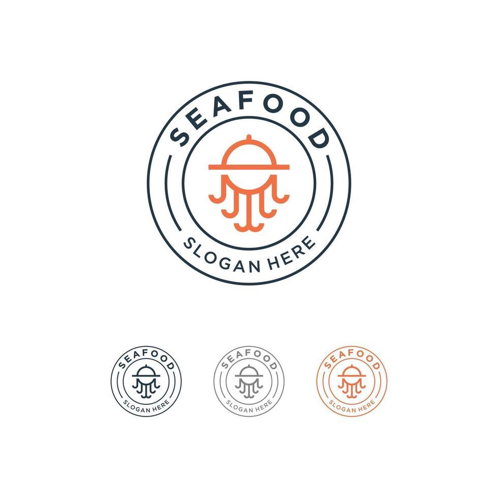 octopus zeevruchten logo ontwerp lijn kunststijl vector