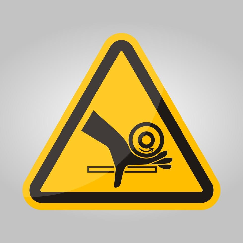 hand crush roller pinch point symbool teken, vector illustratie, isoleren op witte achtergrond label .eps10