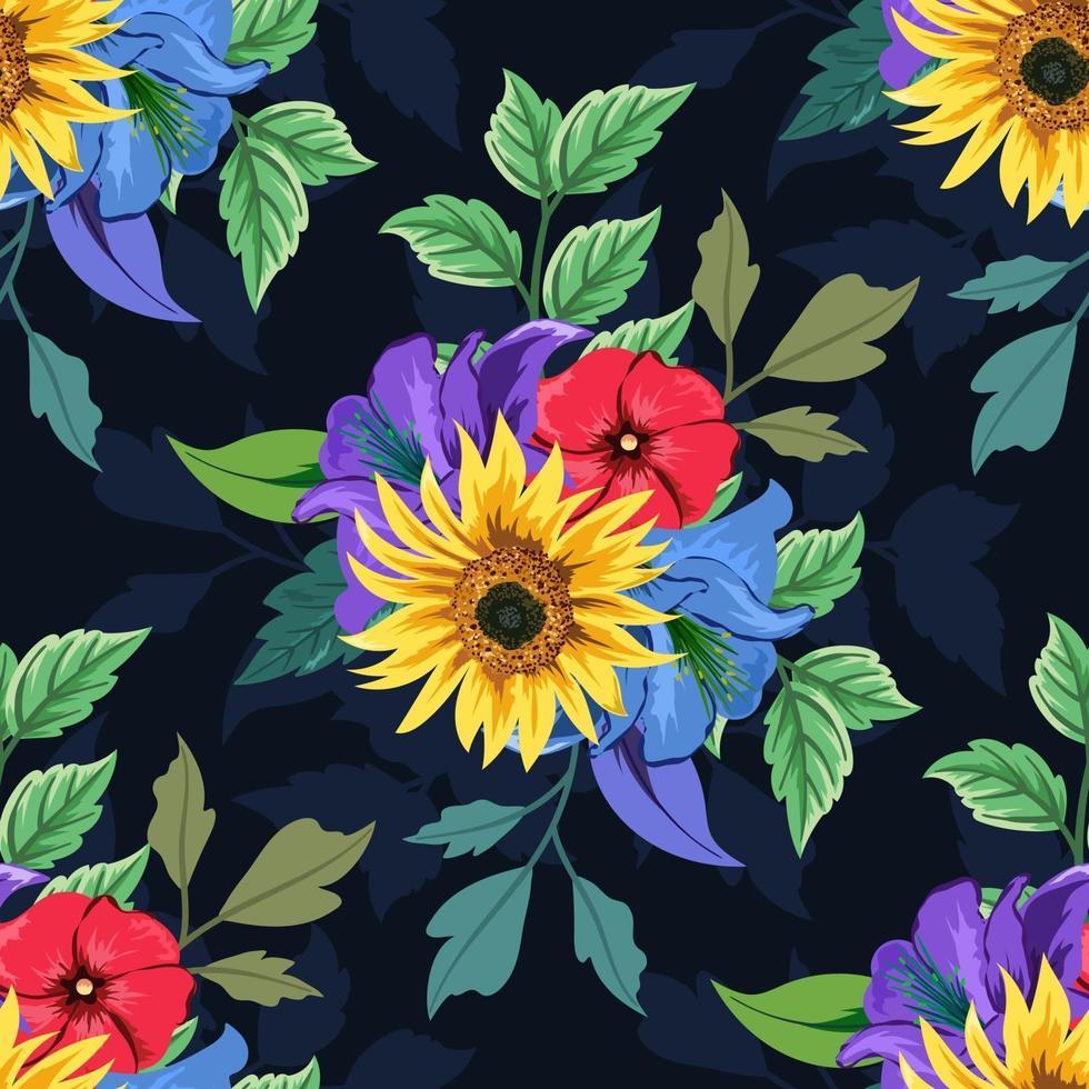 kleurrijk botanisch naadloos bloemenpatroon op donkere achtergrond. vector