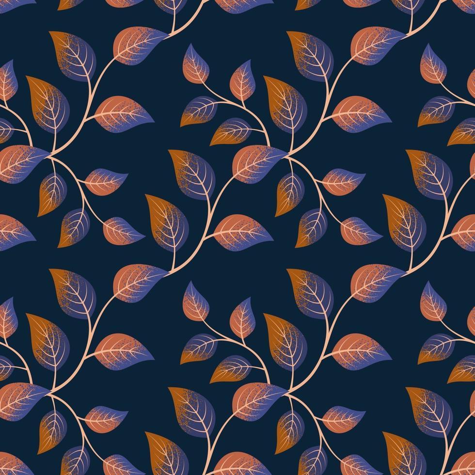 naadloze patroon met blad op donkere achtergrond. vector