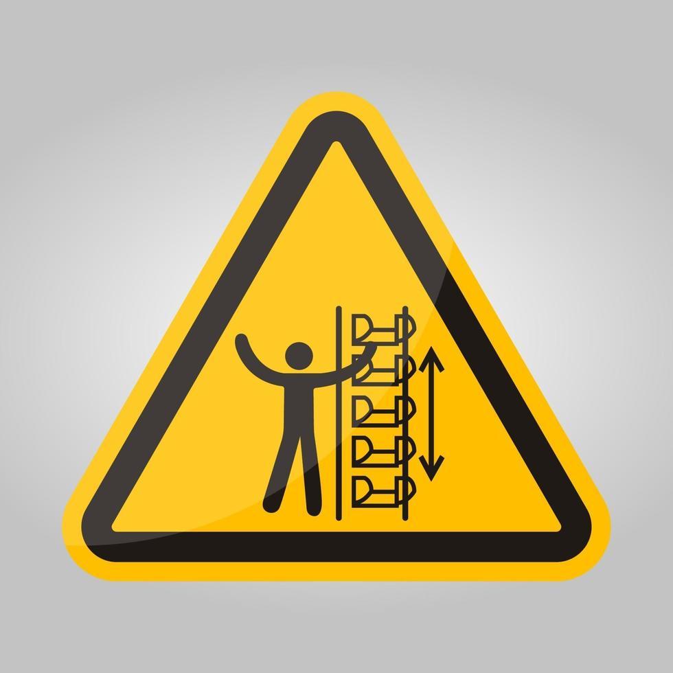 waarschuwing blootgestelde emmers en bewegende delen symbool teken isoleren op witte achtergrond, vector illustratie