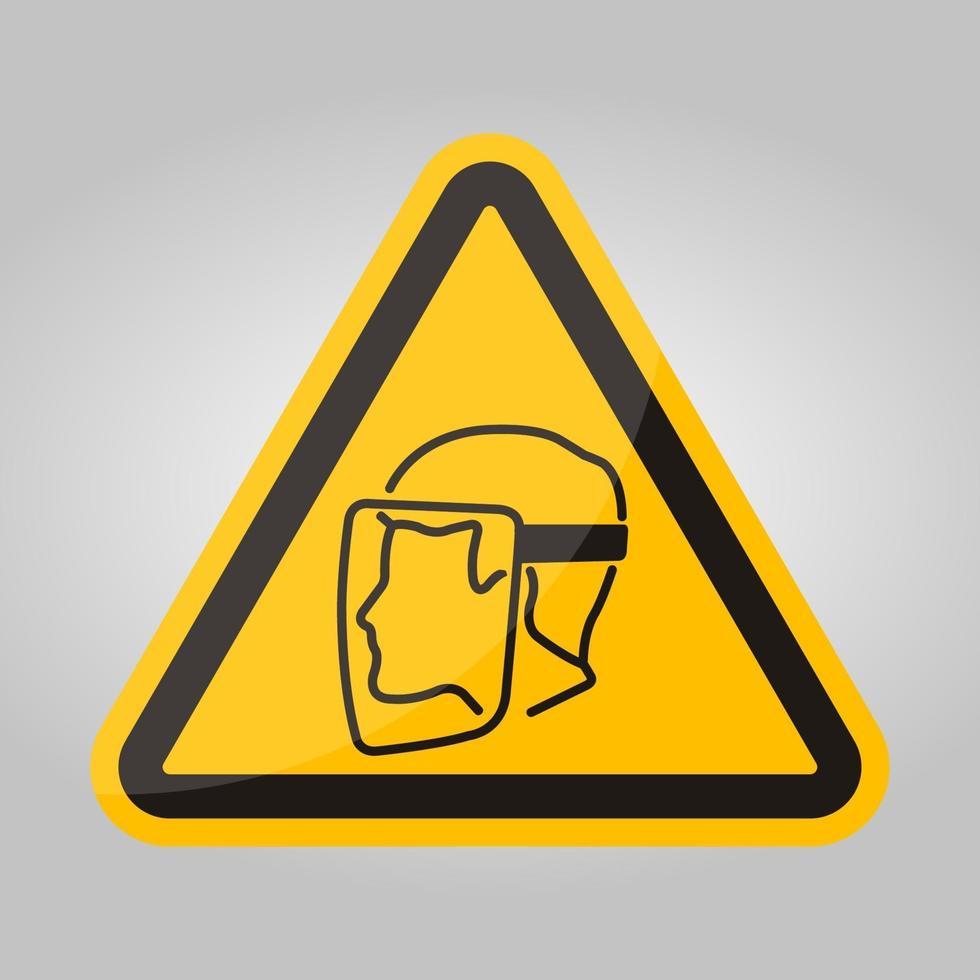 symbool gezichtsschild moet worden gedragen teken isoleren op witte achtergrond, vector illustratie eps.10