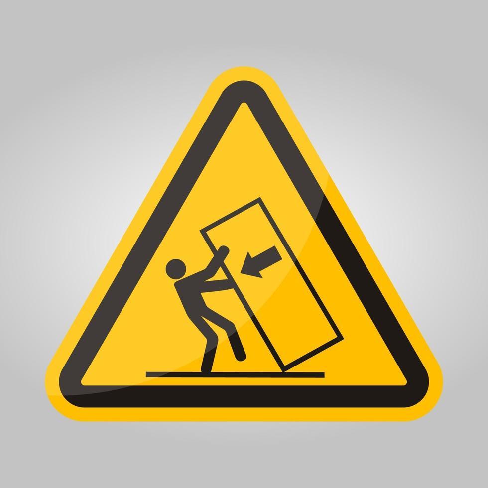 lichaam crush tip over gevaarsymbool teken isoleren op witte achtergrond, vector illustratie eps.10